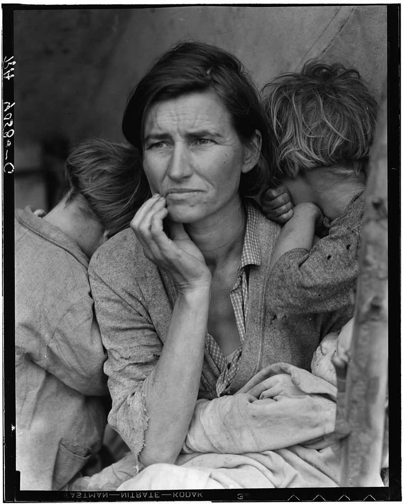 "Florence Thompson with one of her children as part of the ""Migrant Mother"" series. Nipomo, California, 1936. Dorothea Lange, Farm Security Administration / Office of War Information"