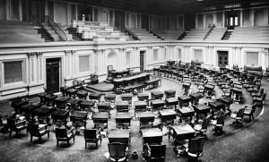 Yhdysvaltain senaatin kokoushuone noin vuonna 1873.