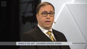 Kansanedustajaehdokas Marco de Wit Ylen pienpuoluetentissä 2.4.2019.