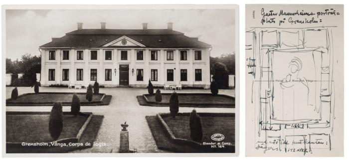 ◼Gallen-Kallela kävi Grensholmissa, Norrköpingissä helmikuussa 1931. Linnassa oli hänen maalauksensa. Sen sijoittamisesta hän piirsi kaavion postikorttiin.