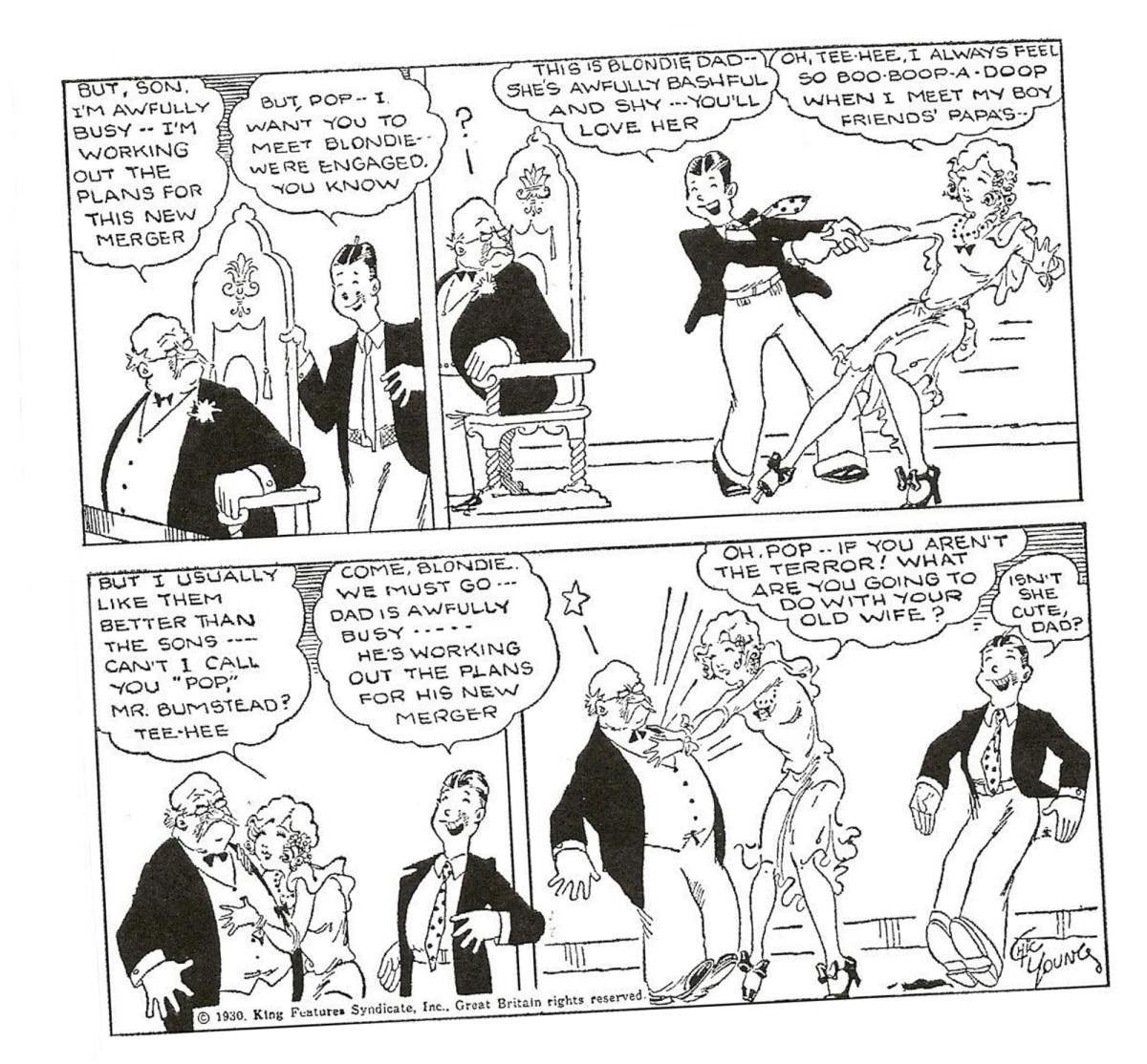 Isä, poika ja heitukka. Ensimmäinen Blondie-strippi julkaistiin 8. syyskuuta 1930.