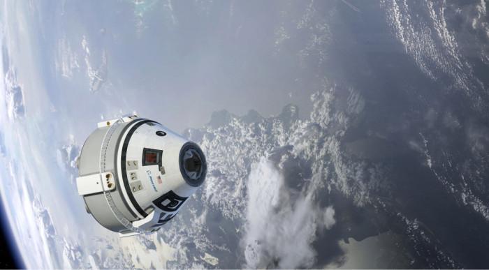 ◼Boeingin Starliner-kapselilla  kuljetetaan avaruusasemalle rahtia ja miehistöä. Taiteilijan näkemys  rakenteilla olevasta kapselista.