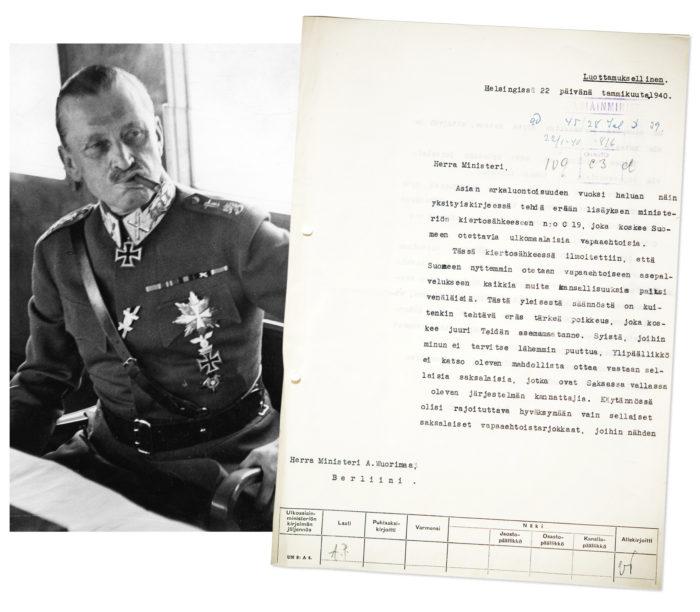 ◼Väinö Tanner kertoi Saksan-lähettiläälle Mannerheimin päätöksestä kirjeessä.