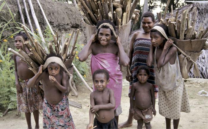 ◼Polttopuun kerääjiä Papua-Uudessa-Guineassa.