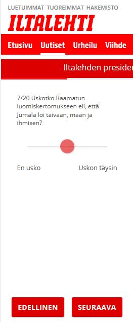 Vaalikone Iltalehti - presidentinvaalit 2018
