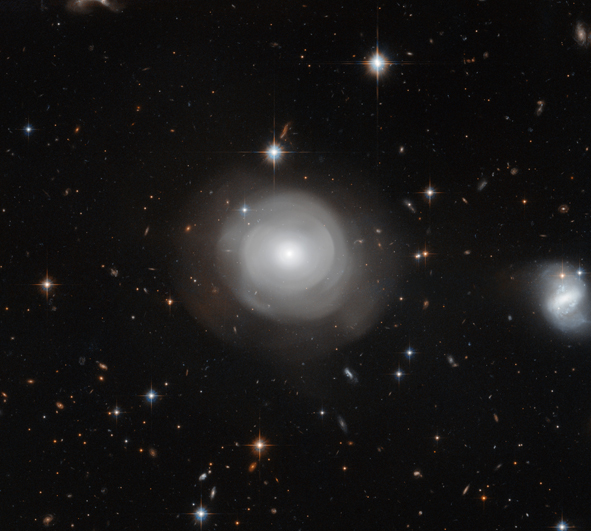 The ghostly shells of galaxy ESO 381-12 are captured here in a new image from the NASA/ESA Hubble Space Telescope, set against a backdrop of distant galaxies. The strikingly uneven structure and the clusters of stars that orbit around the galaxy suggest that ESO 381-12 may have been part of a dramatic collision sometime in its relatively recent past.