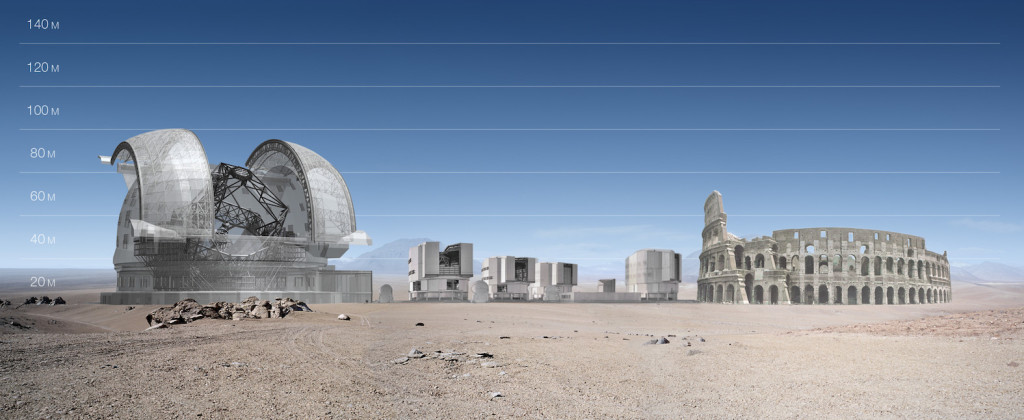 Present and future observatories compared to a marvel from the past. The E-ELT dome will be 100 metres in diameter, about the size of the Colosseum in Rome, but atop a 3000-metre mountaintop. For comparison, each of the four VLT unit telescopes are 25 metres high, about the size of an eight-storey building. This picture is based on a preliminary design for the E-ELT.