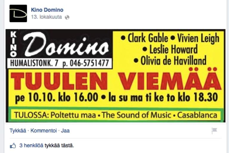 Kuvakaappaus Dominon Facebook-sivulta.