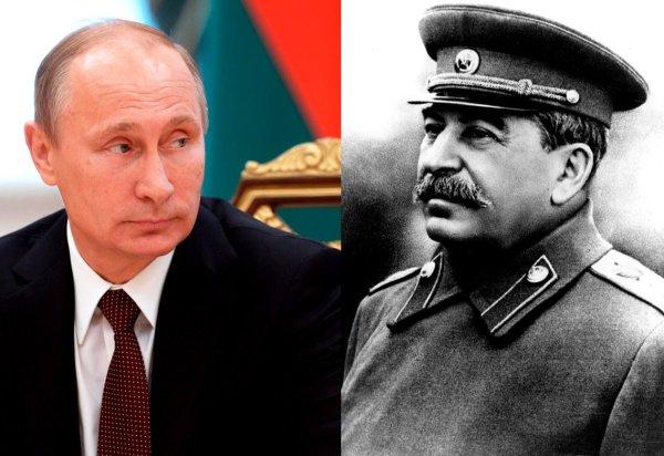 Vladimir Putin ja Josif Stalin.