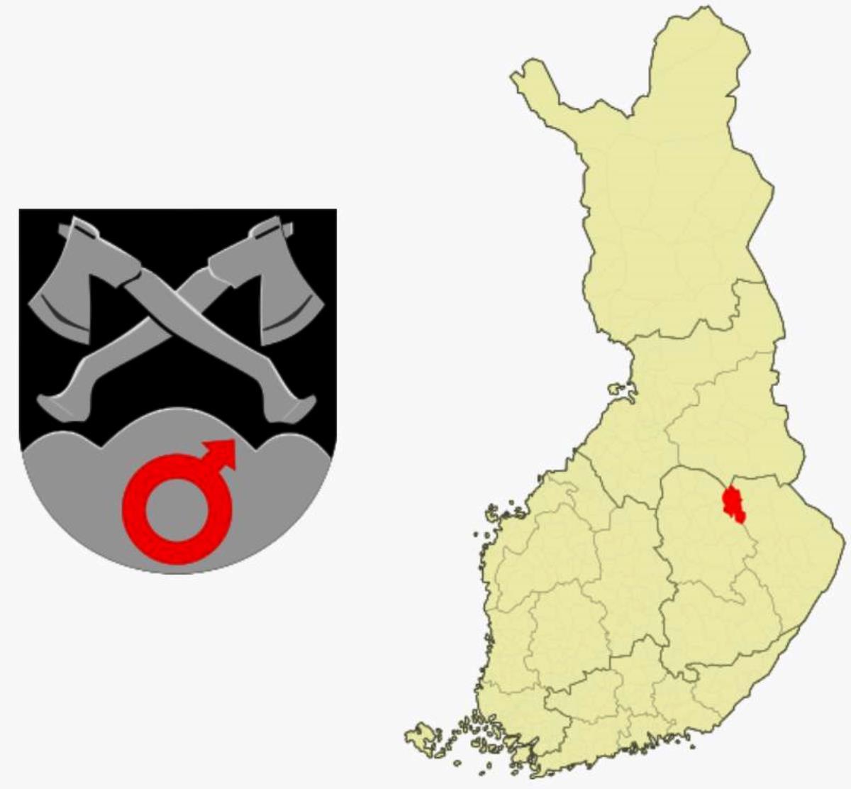Rautavaaran kunnan vaakuna ja sijainti.