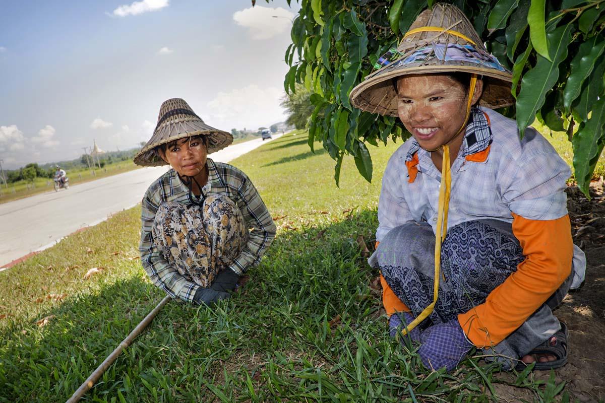 Chit Thae Phyu ja Aye Thanday kitkevät rikkaruohoja pääkaupungissa. He ovat maalanneet kasvonsa thanakapuusta raastetulla voiteella.