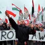 Ukrainalaisen Jobbik-puolueen edustajat osallistuivat Puolan äärioikeiston järjestämään mielenosoitukseen Varsovassa marraskuussa.