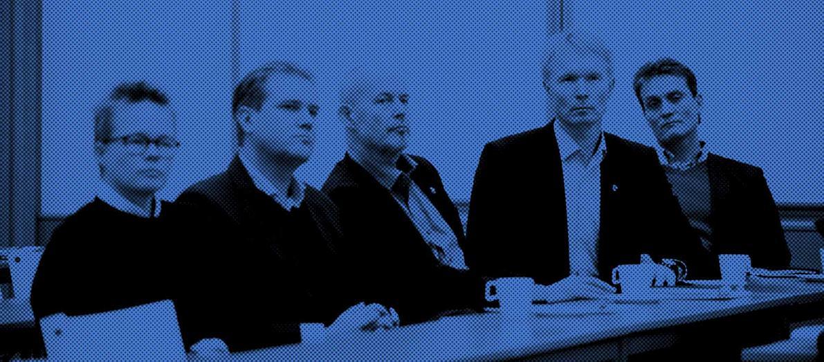 Urheilun muuttajia.Vasemmalta Leena Paavolainen, Antti Paananen, HuMun pysyvä asiantuntija Jorma Vertainen, Tapio Korjus ja Mika Kojonkoski.