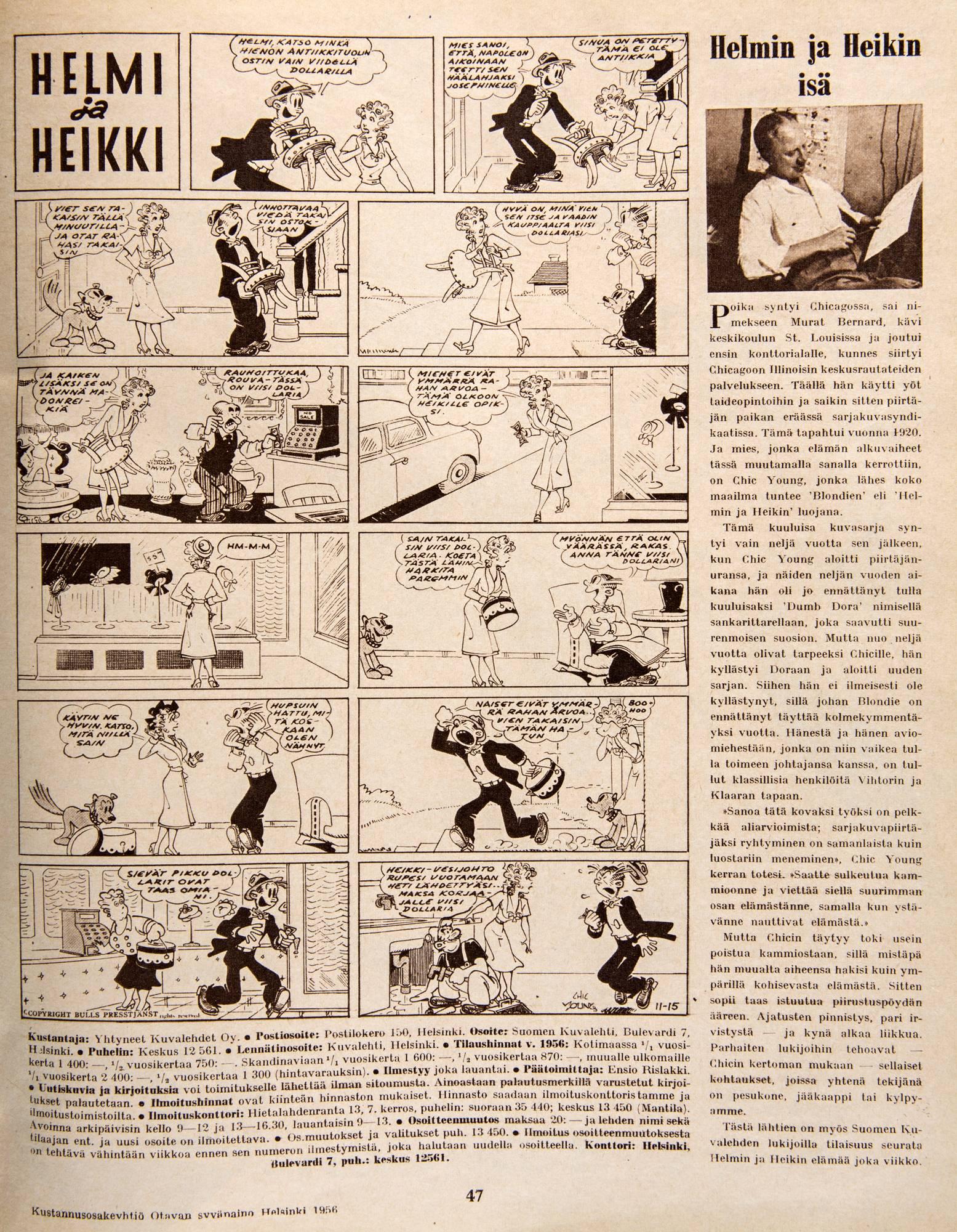 Helmi ja Heikki ensi kerran. SK 3/1956.