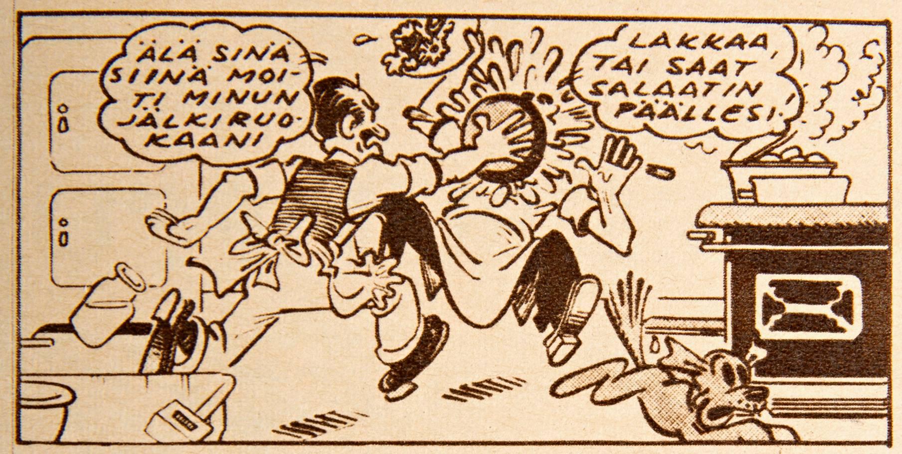 Naapurin Paavo on Heikin paras kaveri. Miehet valmistavat juhla-aterian vaimoilleen. SK 20/1956.