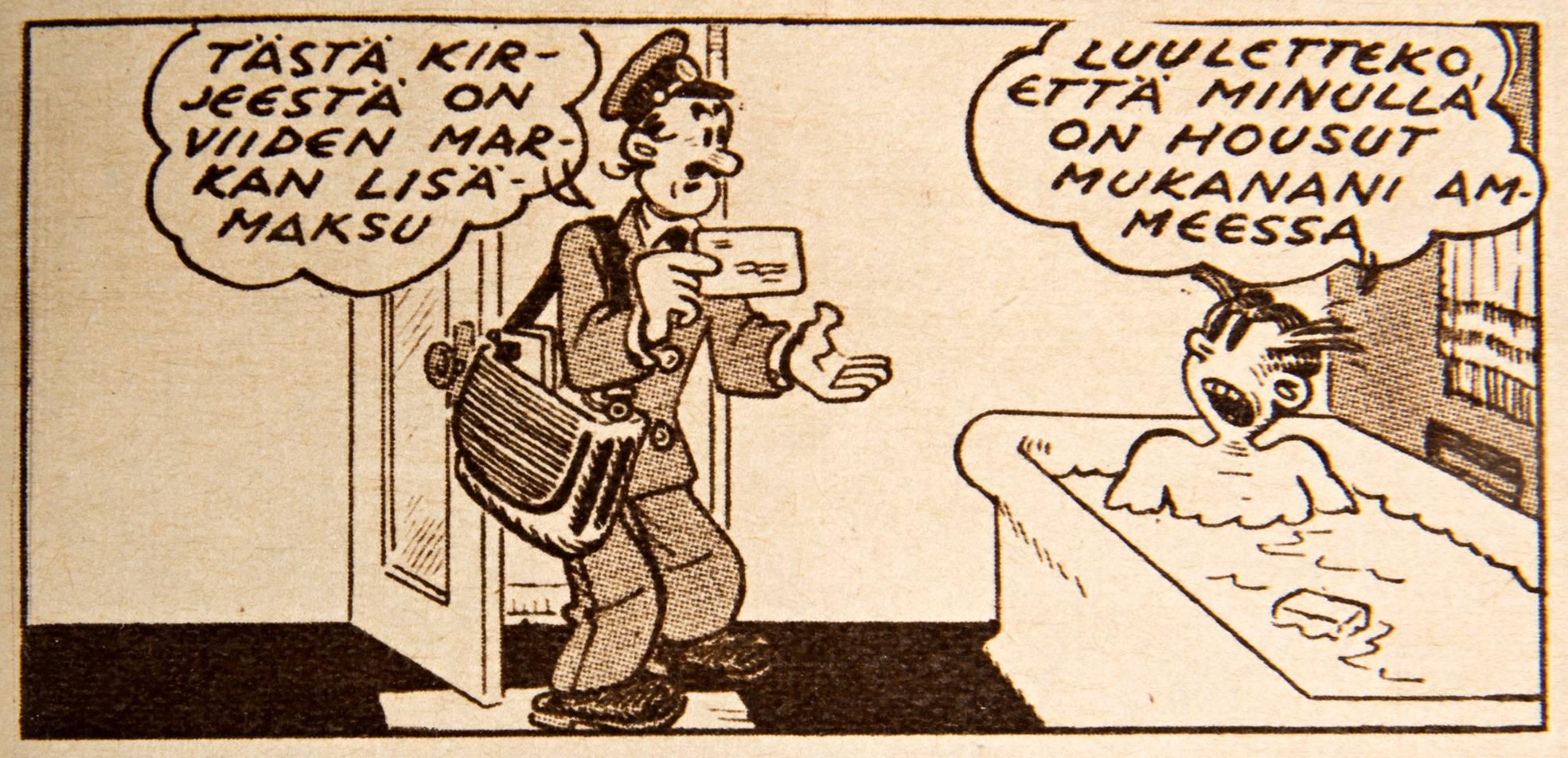 Kylpyhuone näyttää Heikin elämän paljaimmillaan. SK 35/1957.
