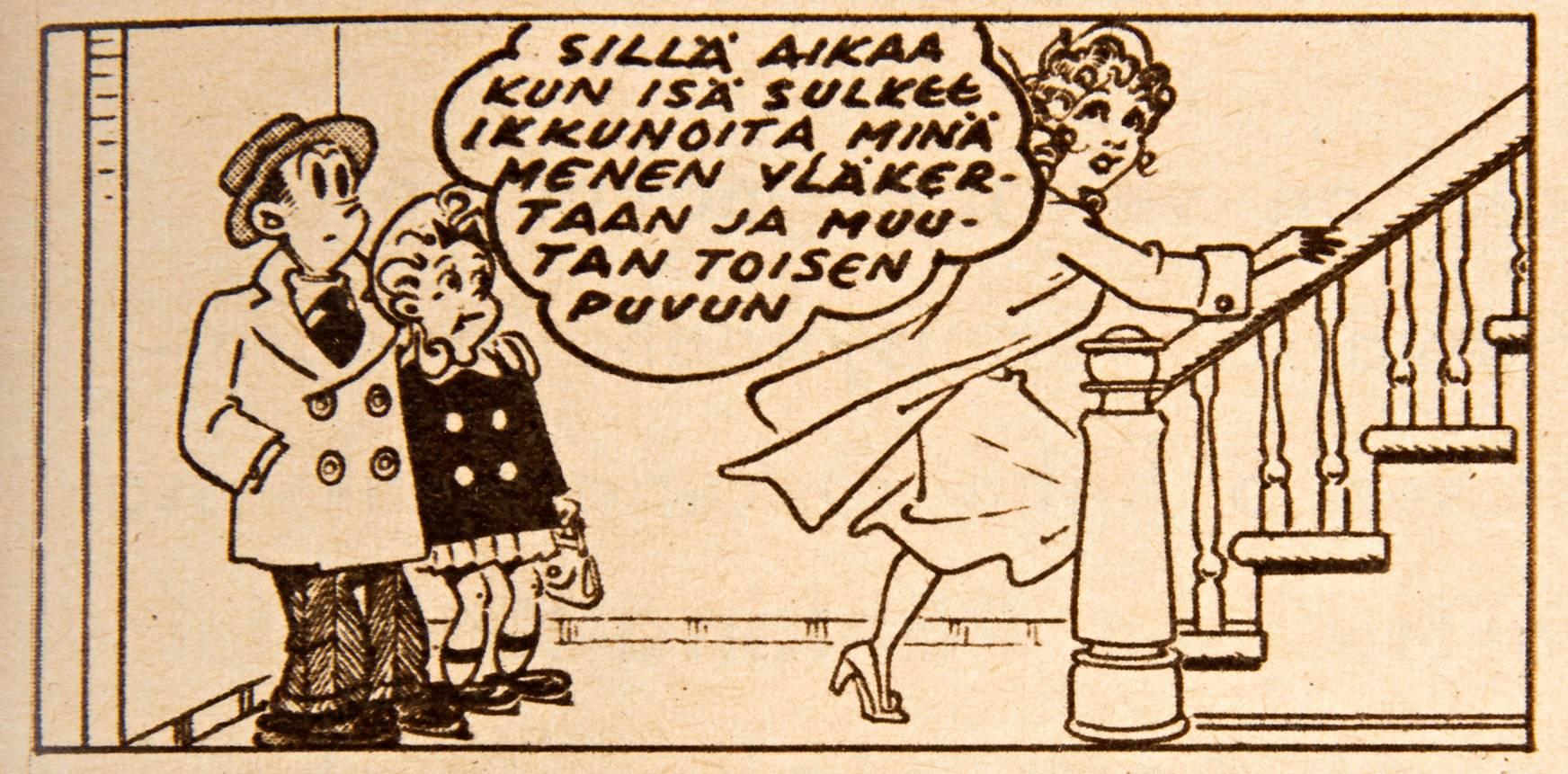 Aleksanteri ja Kiki odottavat, kun Helmi päättää vaihtaa vaatteita –taas kerran. SK 44/1956.