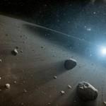 Taiteilijan näkemys pienten kiertolaisten muodostamasta vyöhykkeestä, joka ympäröi paljon Aurinkoa nuorempaa Vega-tähteä.