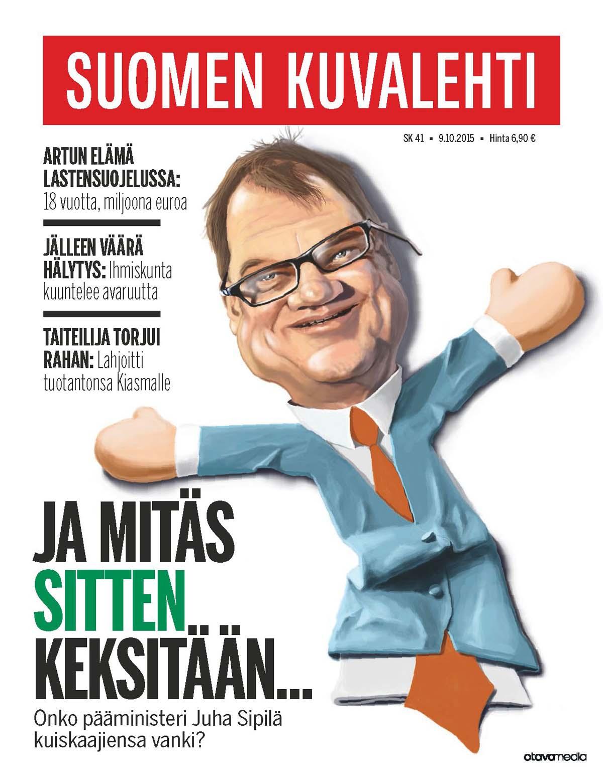 Mika Sälevän näkemys Juha Sipilästä käsinukkena. SK 41/2015.