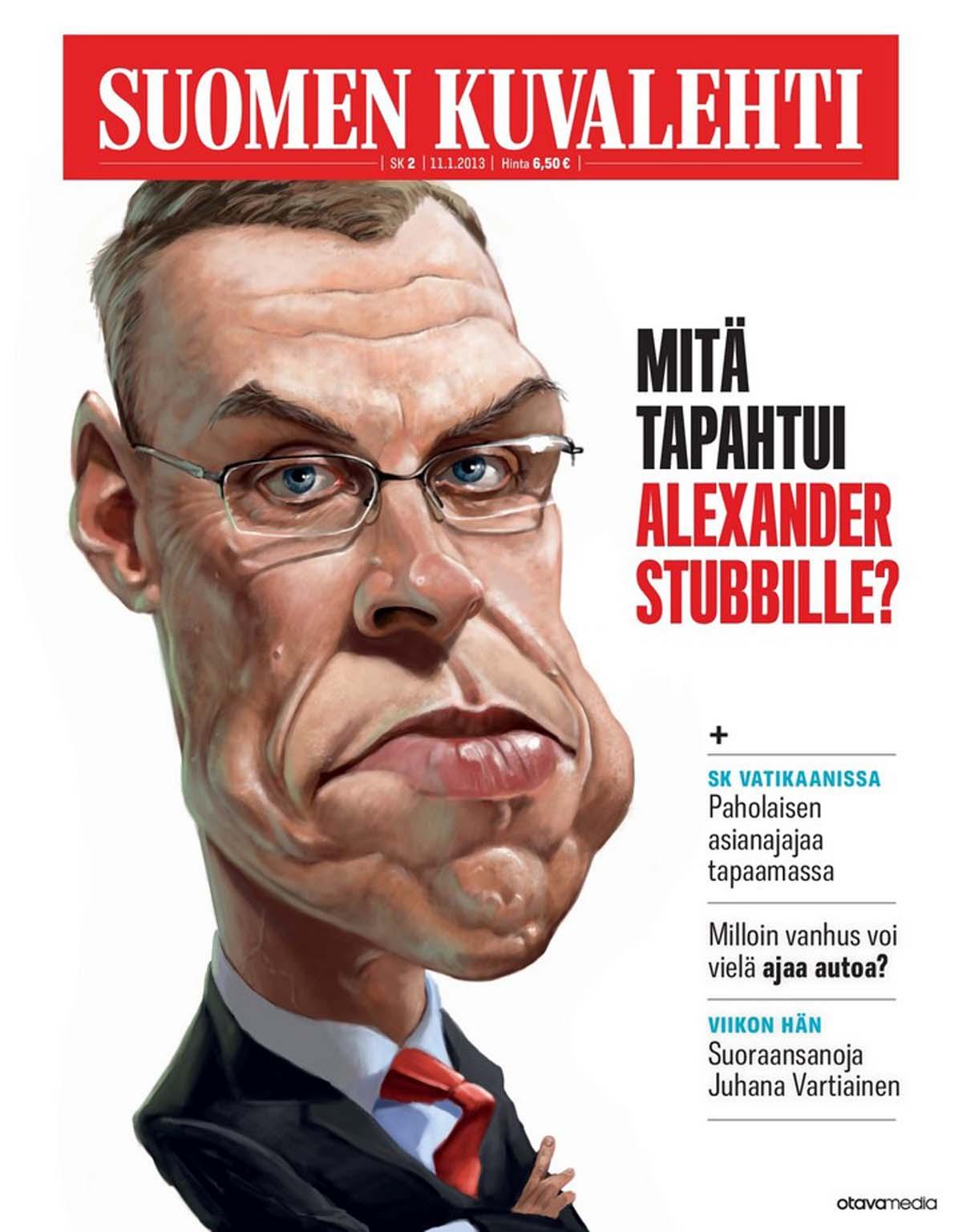 Mika Sälevän karikatyyri Alexander Stubbista. SK 2/2013.