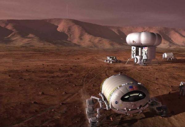 Taiteilijan näkemys tulevaisuuden Marsista.