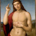 Rafael: Siunaava Kristus Vapahtaja (1502). Kun klikkaat kuvan oikean ylänurkan nuolia, näet teoksen kokonaan.