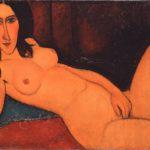 Amedeo Modigliani: Lepäävä alaston hiukset avoinna (1917).