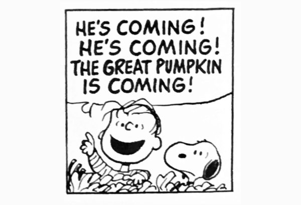 Eppu ja Ressu harjoittelevat Suuren kurpitsan tuloa. Ruutu stripistä 30. lokakuuta 1977.