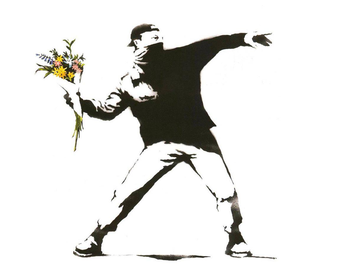 """""""Banksyn Rage the flower thrower on minulle tärkeä teos, joka päivittää koko Flower power -liikkeen 2010-luvulle. Rakkautta vastustajan niskaan, mutta asenteella."""""""