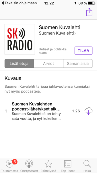 Tilaa podcast iPhonella