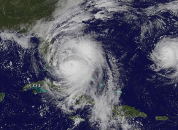 Hurrikaanit Matthew ja Nicole Nasan kuvassa 6. lokakuuta 2016.