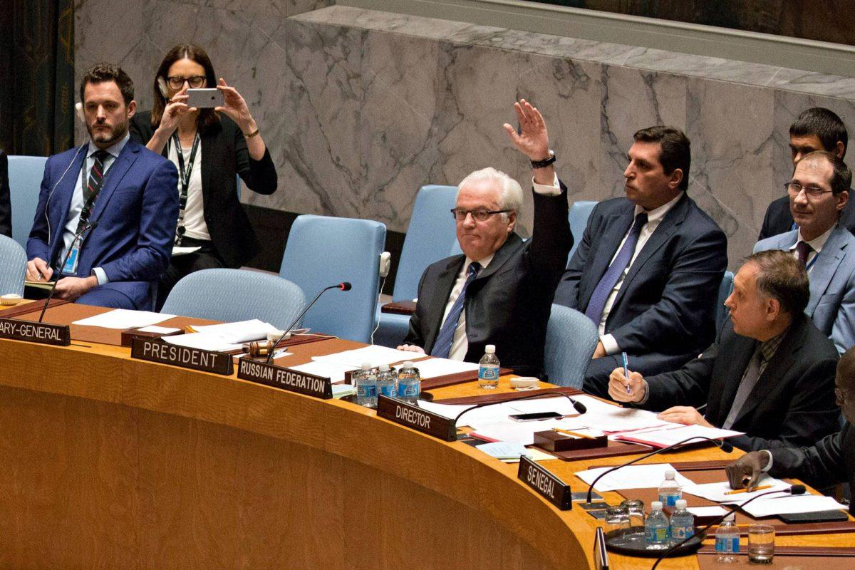 Venäjän YK-lähettiläs Vitali Tšurkin esti YK:n turvaneuvoston Syyria-päätöksen 8. lokakuuta 2016..