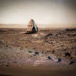 Miehitetty alus Marsissa, toistaiseksi vain taiteilijan mielikuvituksessa.