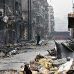 Syyrialainen nainen jätti Aleppon 13. joulukuuta 2016.