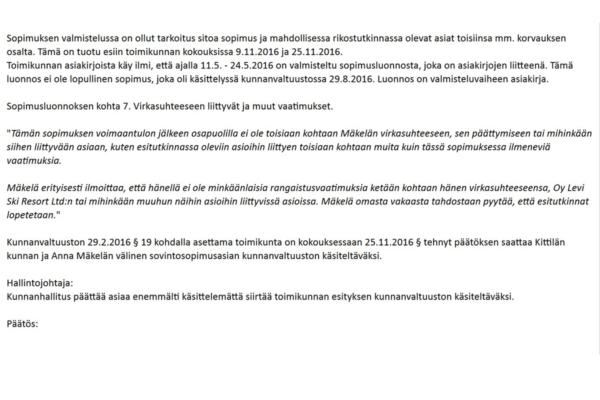 Ote Kittilän kunnanhallituksen esityslistalta, jossa kuvataan sopimusluonnosta, jota lainvastaisesti erotettu Kittilän kunnanjohtaja Anna Mäkelä ei tiettävästi allekirjoittanut. Kuvakaappaus.