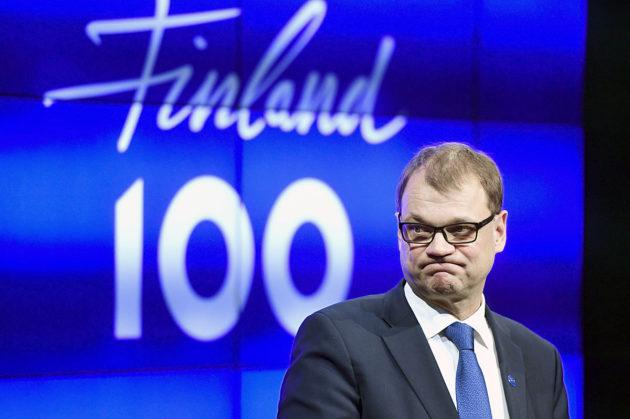 Pääministeri Juha Sipilä (kesk) Suomi 100 -avajaisten tiedotustilaisuudessa Helsingissä 31. joulukuuta 2016.