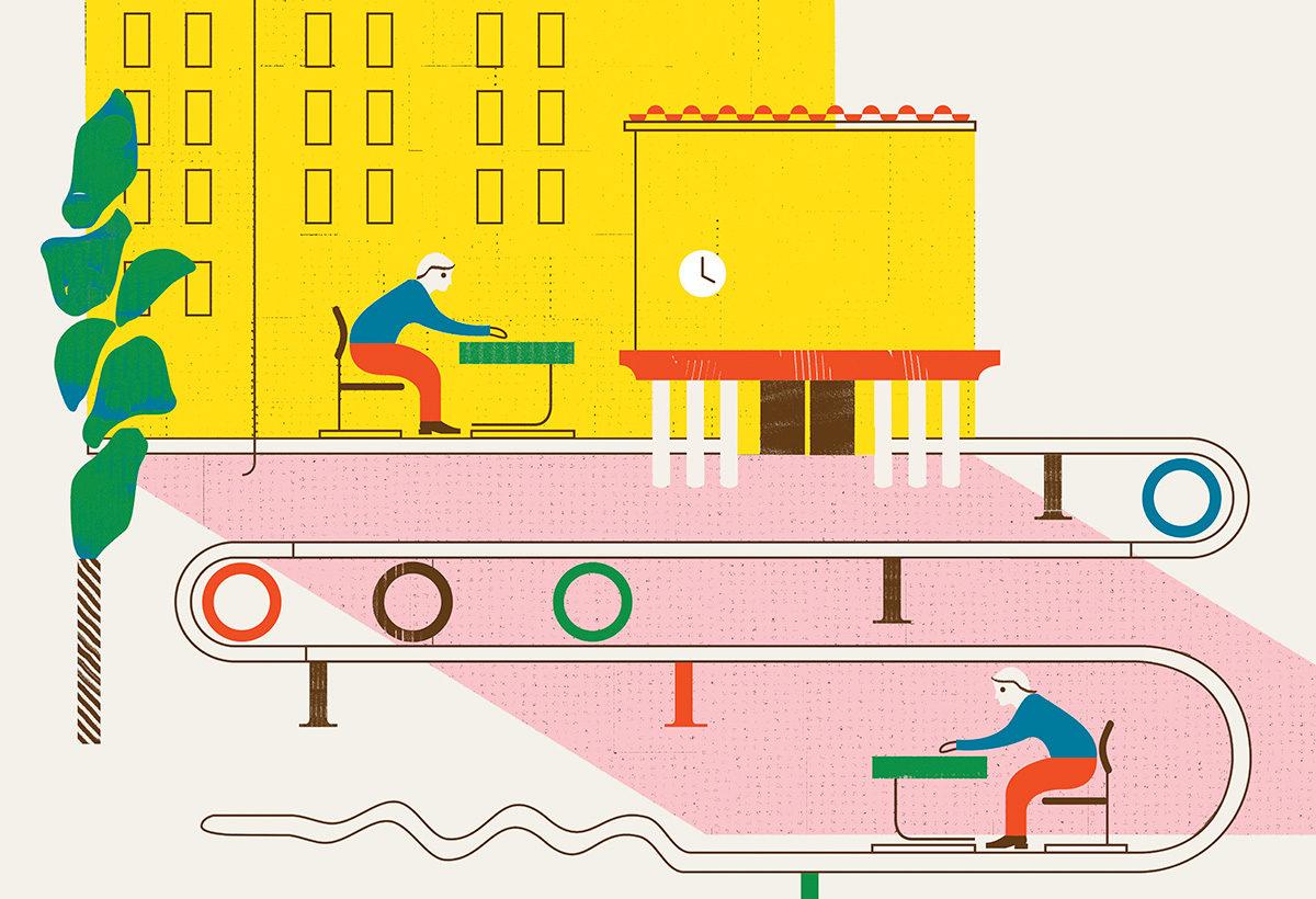 Kanavan kansikuvassa kuvittaja Emil Wikström kuvaa leikkimielisesti suomalaisen koulujärjstelmän lähes tehdasmaista tasalaatuisuutta.