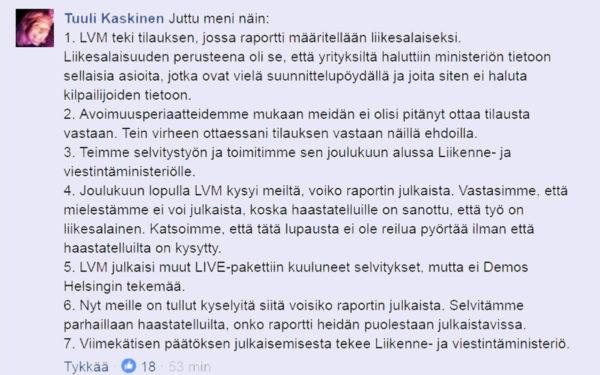 Demoksen toiminnanjohtaja Tuuli Kaskinen vastasi Facebookissa kyselyihin selvityksen salaamisesta.