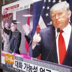 Kim Jong-un ja Donald Trump televisioruudussa rautatieasemalla Soulin rautatieasemalla Etelä-Koreassa 10. marraskuuta 2016.
