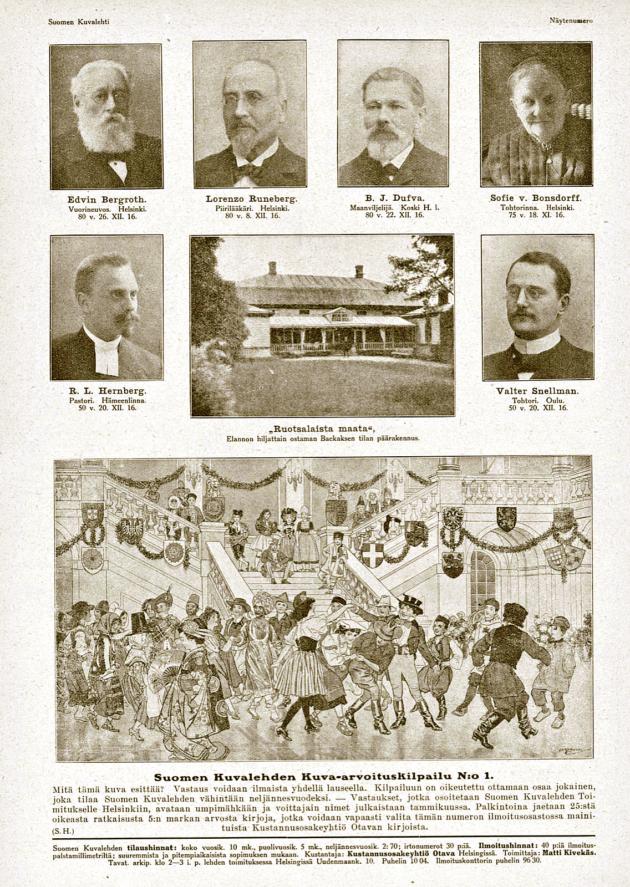 Kuusi ensimmäistä syntymäpäiväkuvaa Suomen Kuvalehden näytenumerossa joulukuussa 1916.