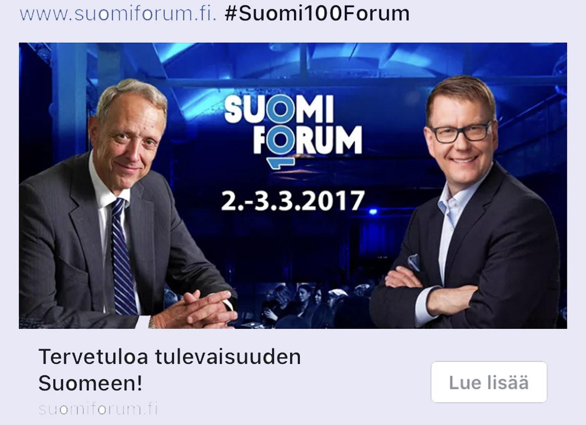 Ylen hallituksen puheenjohtaja Thomas Wilhelmsson ja vastaava päätoimittaja Atte Jääskeläinen mainostivat keskustelutapahtuma Suomi100Forumia. Ruutukaappaus Facebookista 25. tammikuuta.