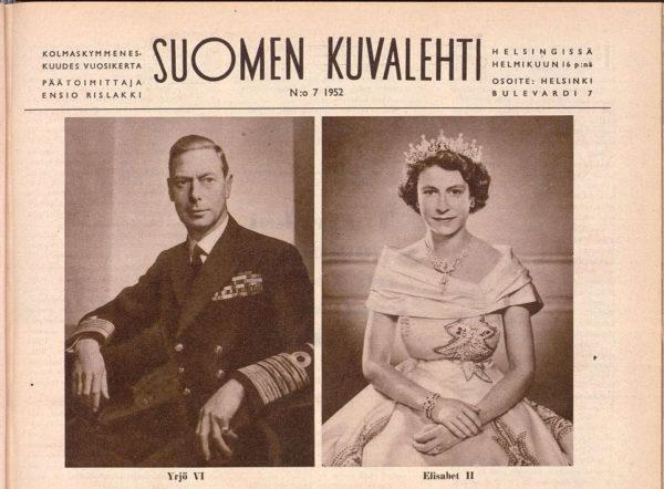 Suomen Kuvalehti uutisoi Elisabet II:n valtaannousun numerossa 7/1952.