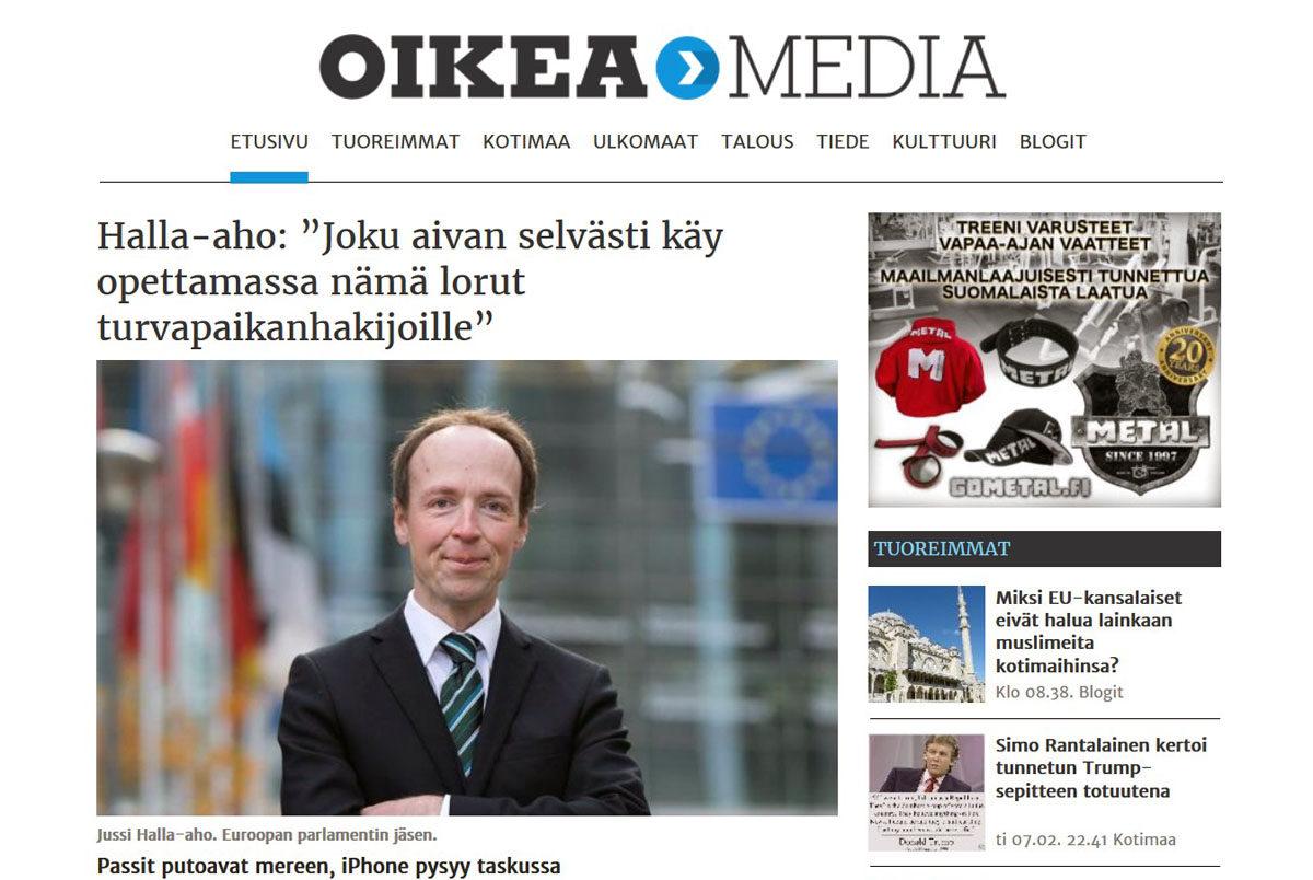 Oikean Median etusivu 8. helmikuuta 2017. Kuvakaappaus.