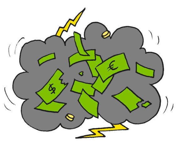 Piirroskuvitus, jossa dollarin seteleitä pyörii ukkospilvessä.