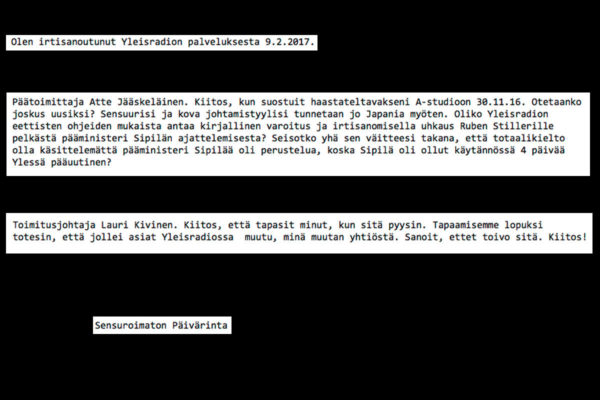 Susanne Päivärinta lähetti sähköpostin irtisanoutumisestaan kollegoilleen 9. helmikuuta 2017 klo 13.59. Otteita viestistä.