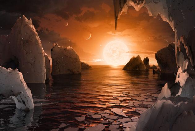 Taiteilijan näkemys Trappist-1-tähteä kiertävästä planeetasta.
