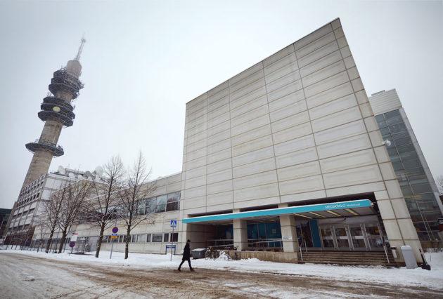 Ylen Mediatalon uusi pääsisäänkäynti 27. helmikuuta 2017.