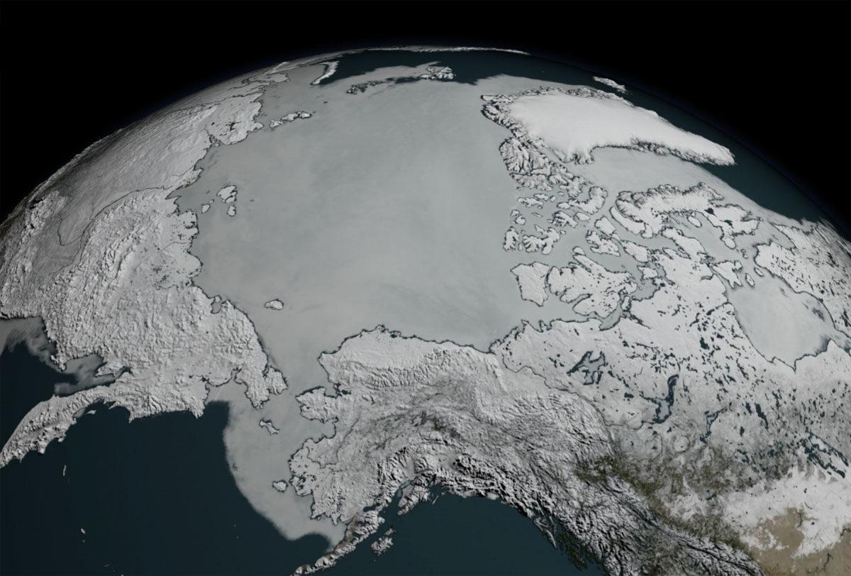 Pohjoisnapaa ympäröivä jää jäi 7. maaliskuuta 2017 pienimmäksi satelliittimuistiin.