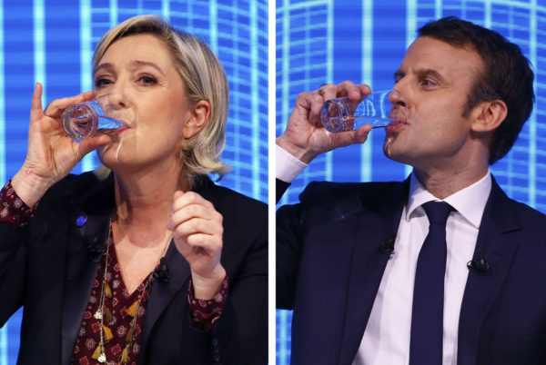 Presidenttiehdokkaat Marine Le Pen ja Emmanuel Macron vaalikeskustelussa Pariisissa Ranskassa 23. helmikuuta 2017.