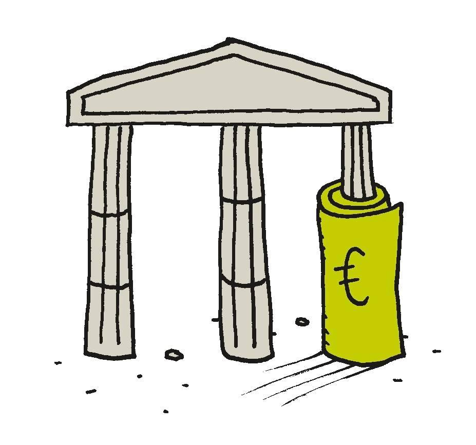 Piirroskuvitus: antiikinaikaisen temppelin yksi pylväistä on päällystetty euron seteleleillä.